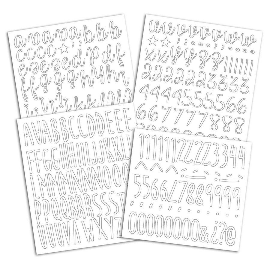 Alphabet thermocollant blanc - 4 planches