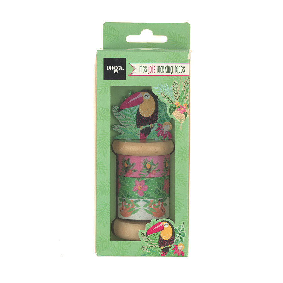 Mini Masking Tape Tropical Green - 3 rouleaux