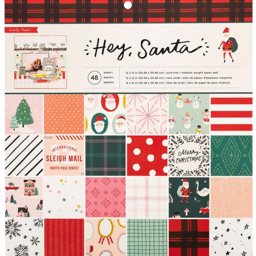 Hey Santa Bloc de papiers 30,5 x 30,5 cm - 48 feuilles