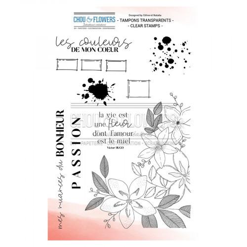Tampons transparents La vie est une fleur - 19 pcs