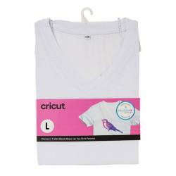 T-shirt blanc col V à customiser - taille L