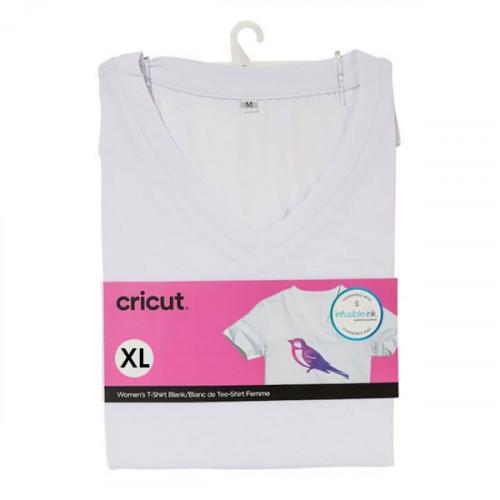 T-shirt blanc col V à customiser - taille XL
