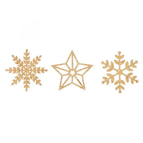 Die-cuts pailletés or Flocons de neige - 8 pcs