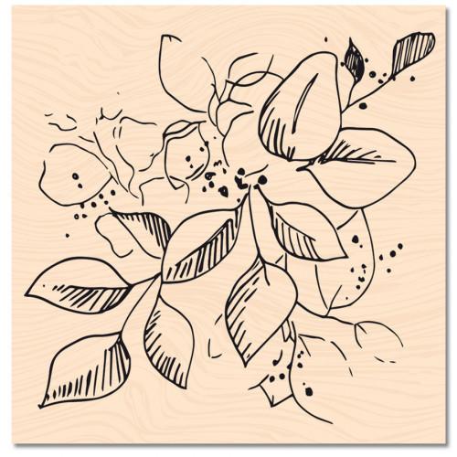 Tampon bois Jolies feuilles - 10 x 10 cm