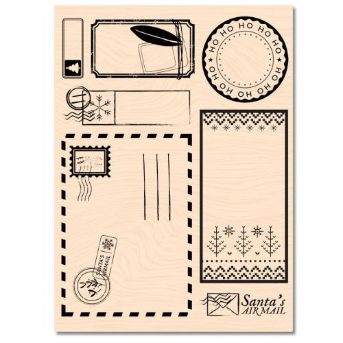 Tampon bois Santa's Air Mail - 10 x 13 cm