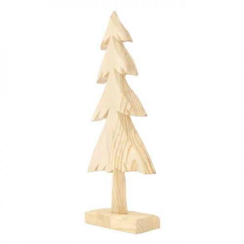 Sapin en bois sur socle - 21 cm