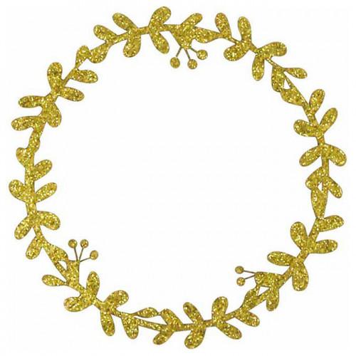 Couronnes de Noël en papier pailleté doré - 8 pcs