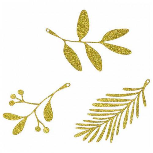 Feuillages en papier pailleté doré - 9 pcs