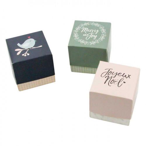 Boîtes cadeaux cubes Noël - 3 pcs