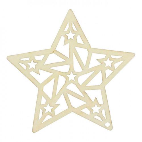 Suspension en bois Esprit Origami Étoile - 14,5 cm
