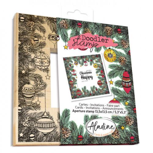 Tampon bois Doodler Stamp cadre Noël boules