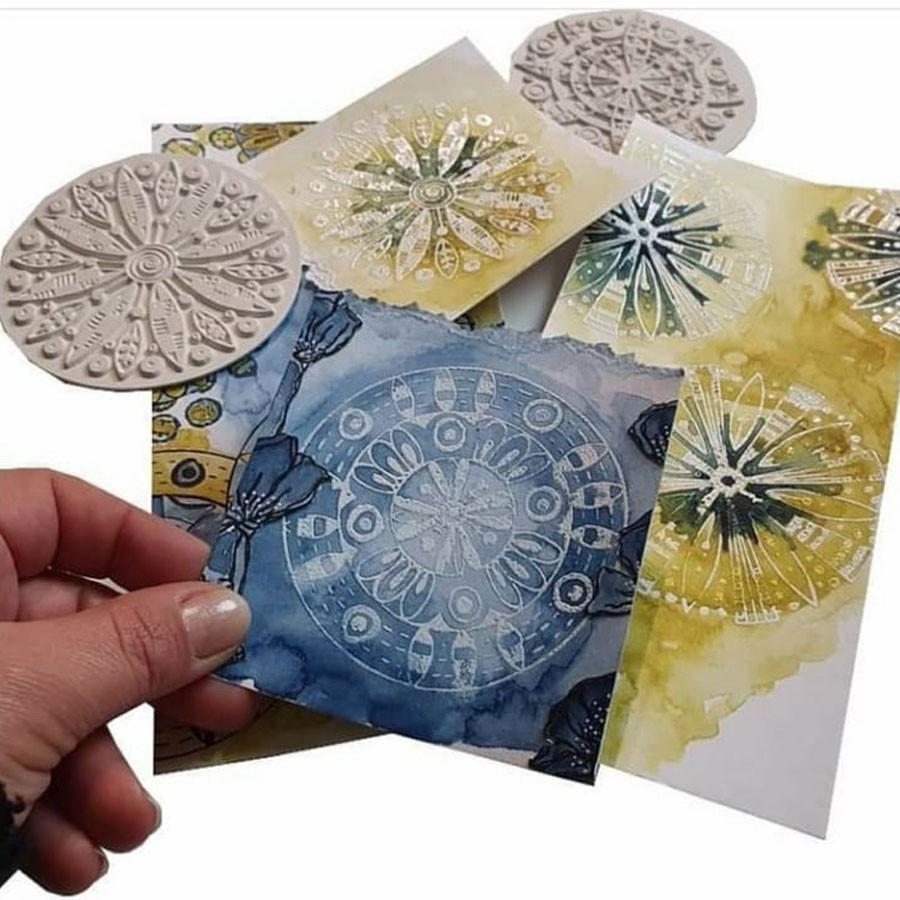 Tampons textures Sous-verre  Papier peint vintage #6 - 6 pcs