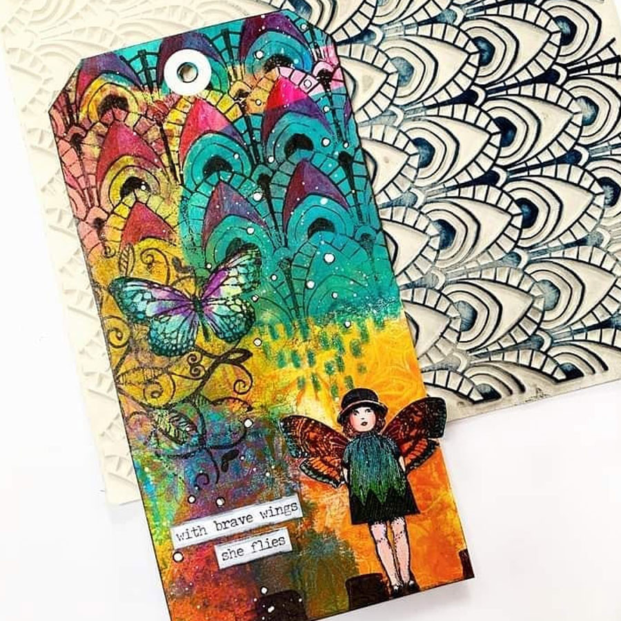 Tampon Texture Papier peint vintage #2 - 15 x 15 cm