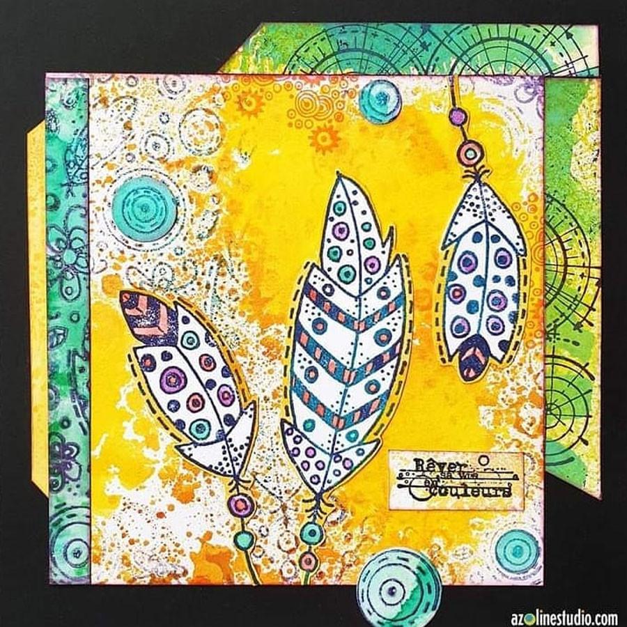 Tampon Texture Fleurs et plumes -  15 x 15 cm