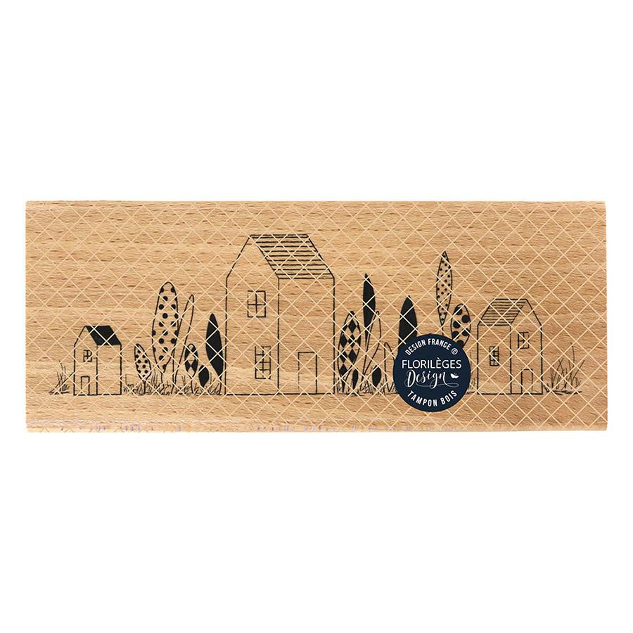 Tampon bois Maisons du bonheur - 15 x 6 cm