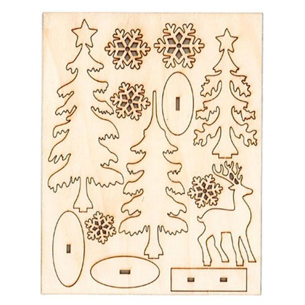 Décor de forêt hivernale en bois