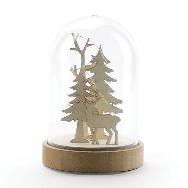 Cloche en plastique + socle et décor - Ø 9,3 x 14 cm