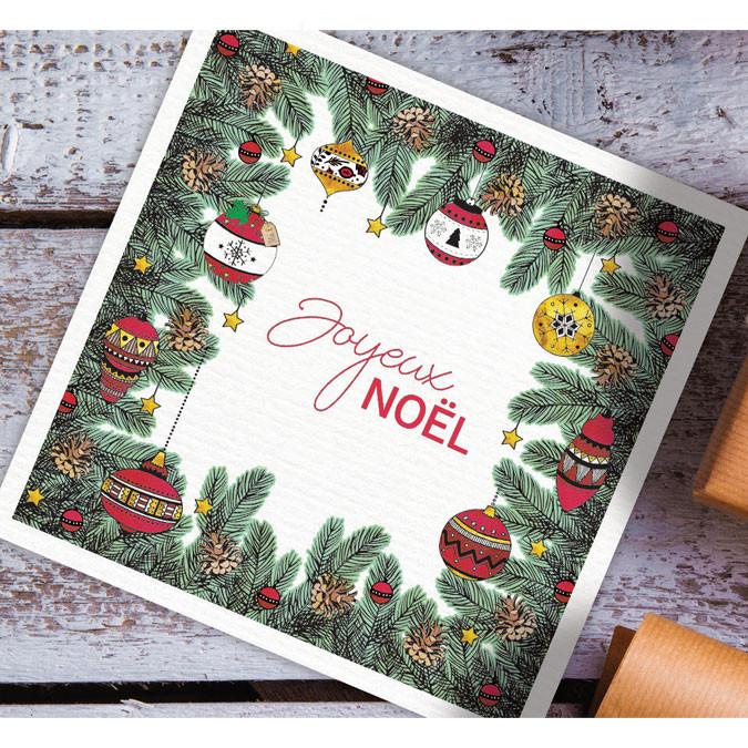 Tampon bois Doodler Stamp cadre Noël houx
