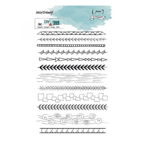 Tampons transparents Frises - 12 pcs