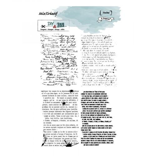 Tampons transparents Textes - 4 pcs