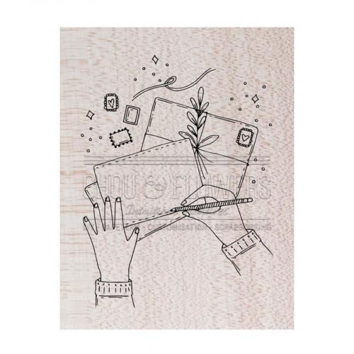 Tampon bois Ecrire une lettre - 8,5 x 10 cm