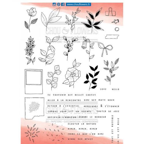 Tampons transparents Botanique perpétuel - 39 pcs