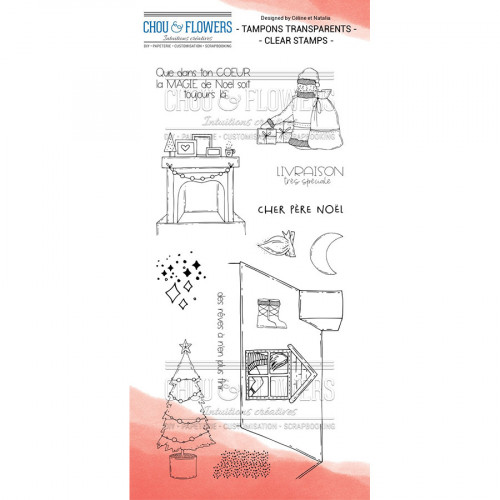 Tampons transparents Père Noël - 13 pcs