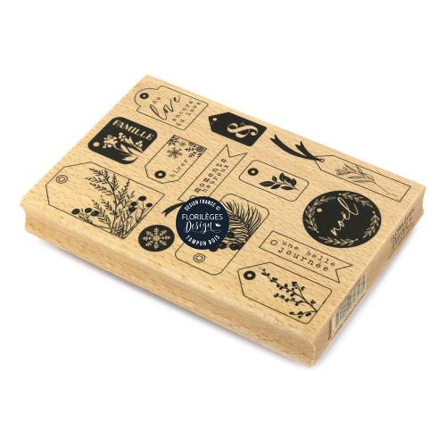 Tampon bois Étiquettes hivernales - 10 x 15 cm