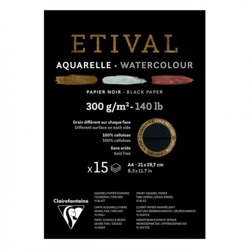 Bloc papier aquarelle Etival Noir grain fin et torchon 300 g/m² A5