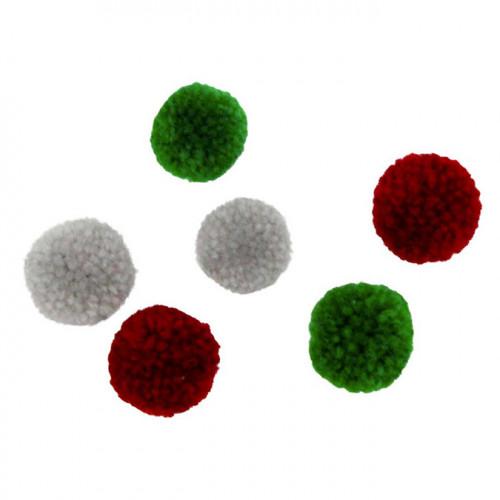 Pompons en laine Rouge Vert Gris 20 pcs