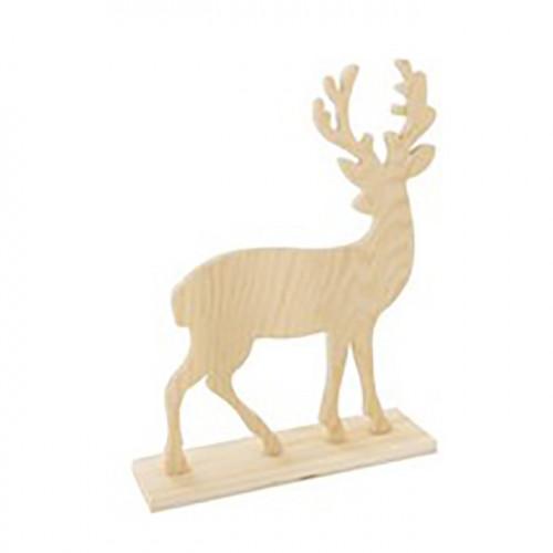 Cerf en bois sur socle 20 x 15 x 0.6 cm
