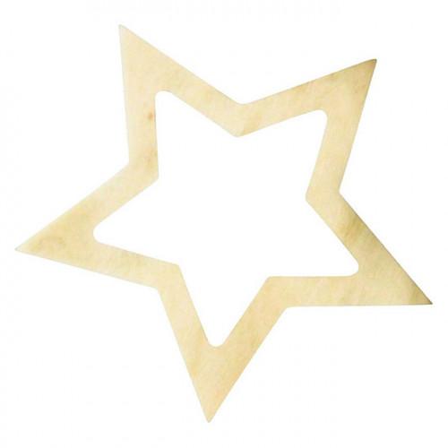 Étoile en bois évidée 7.5 x 1.5 cm 5 pcs