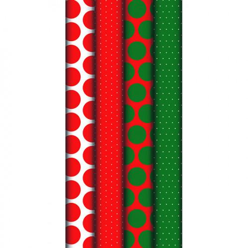 Papier cadeau Pois Rouge Vert rouleau 2 x 0,7 m