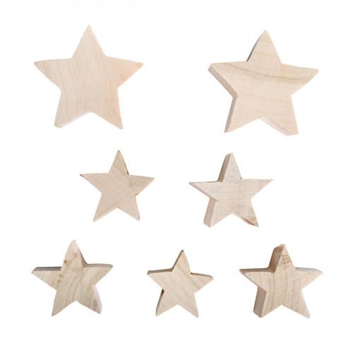 Étoiles en bois 7 pcs