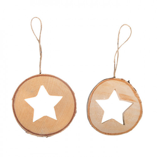 Disque en bois Étoile ajourée 2 pcs