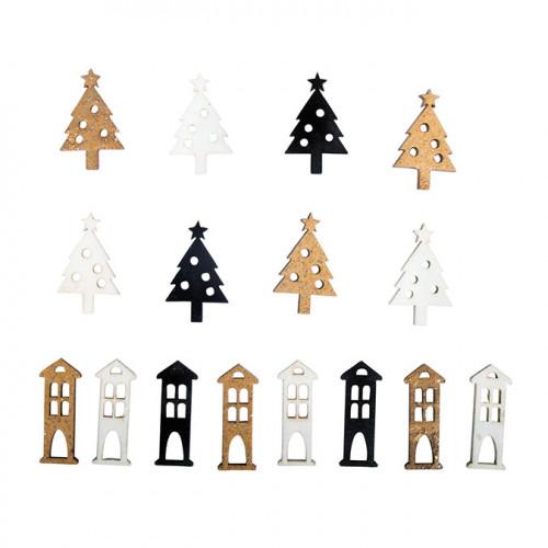 Miniature en bois Sapin + Maison 1.3 x 3 cm 16 pcs