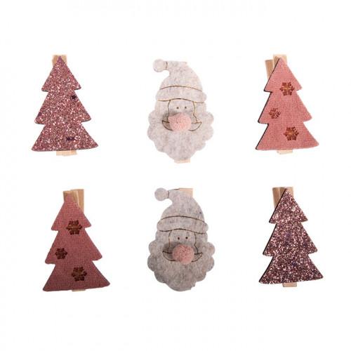 Pince Sapin et Père Noël en bois 4 pcs