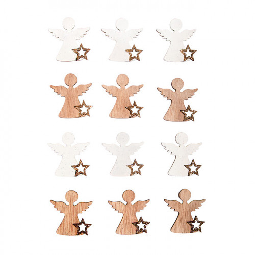 Miniature en bois Anges 3.8 x 4 cm 12 pcs