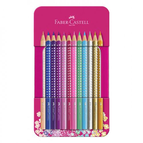 Crayon de couleur Sparkle Boîte métal 12 crayons