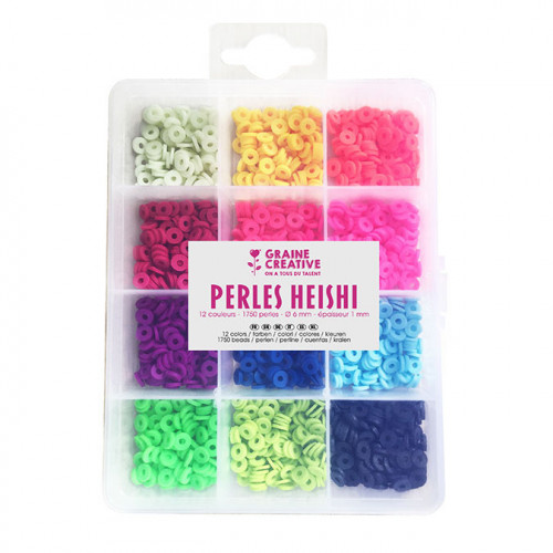 Perle rondelle Heishi 6 mm Mix couleurs Fluorescentes