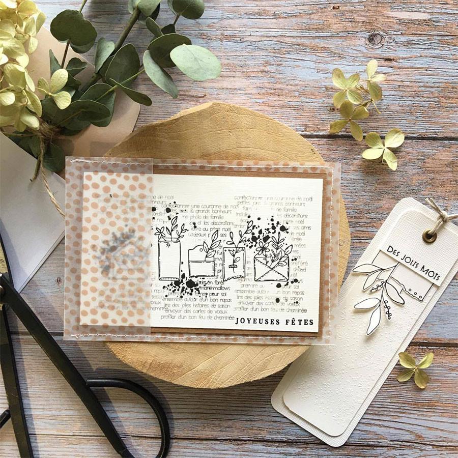 Tampon bois Enveloppes fleuries - 11 x 5,5 cm