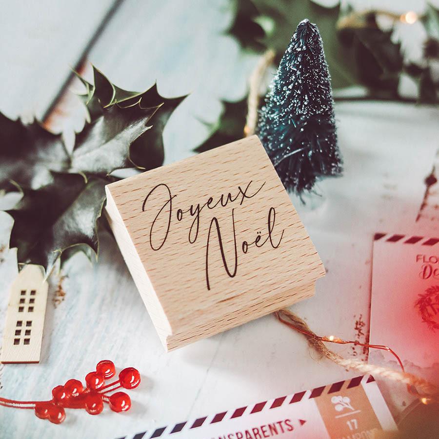 Tampon bois Joyeux Noël 3 - 5 x 5 cm