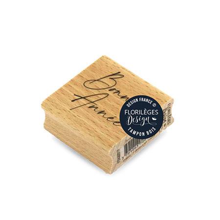 Tampon bois Bonne année - 5 x 5 cm