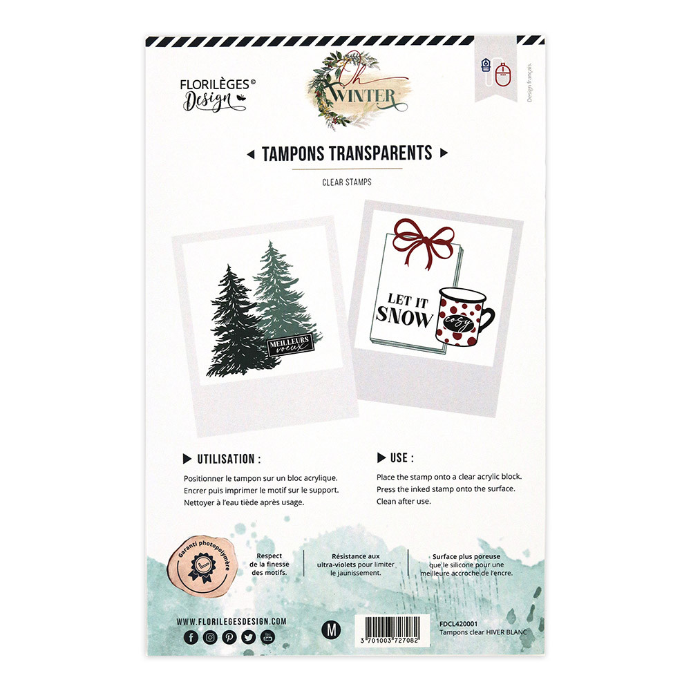 Tampons transparents Hiver blanc - 17 pcs