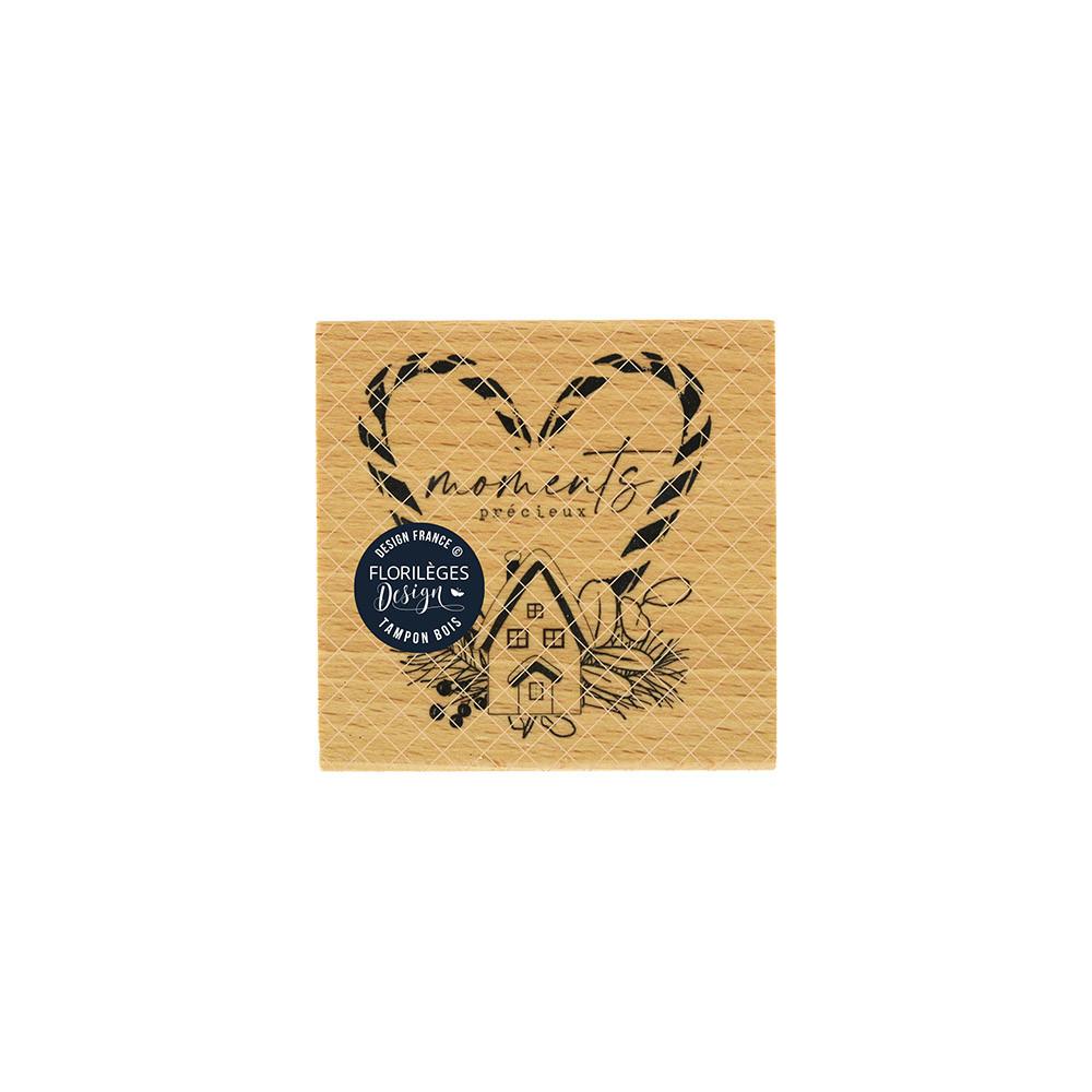 Tampon bois Précieux moments - 7 x 7 cm