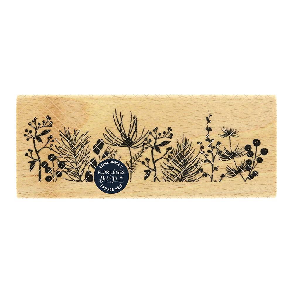 Tampon bois Bordure de feuillages - 15 x 6 cm