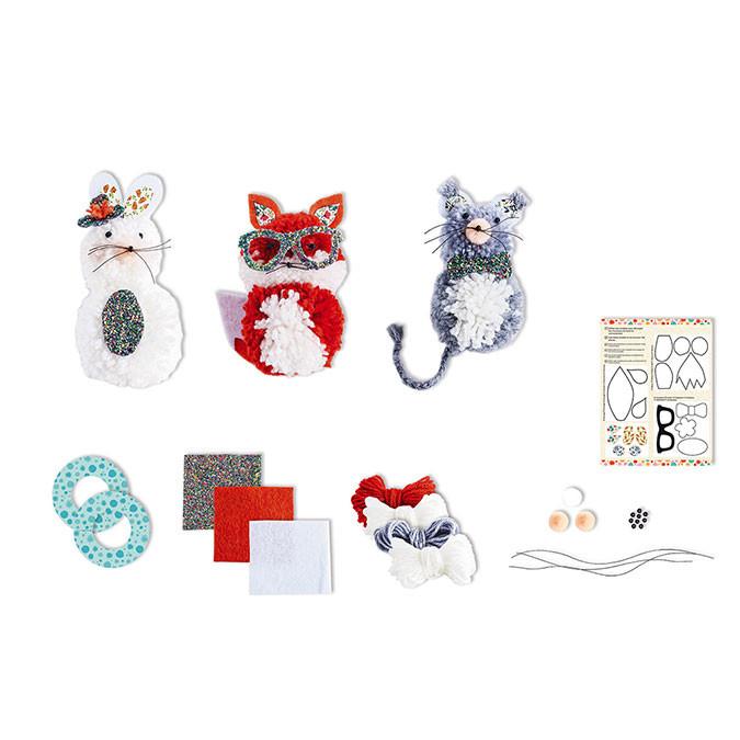 Kit créatif Pompons 3 petits Animaux