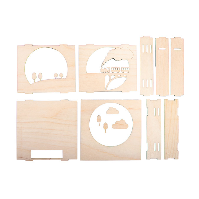 Cadre en bois 3D à monter Kit Petit train 15,5 x 15,5 x 3,4 cm
