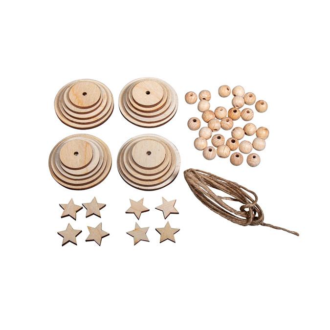 Kit de décoration Pendentif Arbre en bois 4 pcs