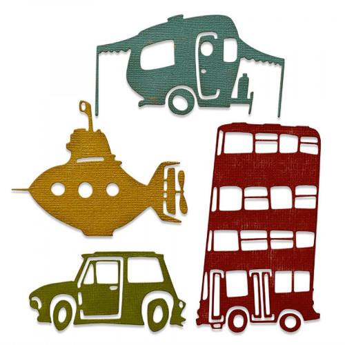 Thinlits Die Moyens de transport loufoques # 1 - 4 pcs
